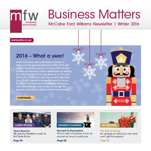 MFW Business Matters newsletter Christmas 2016
