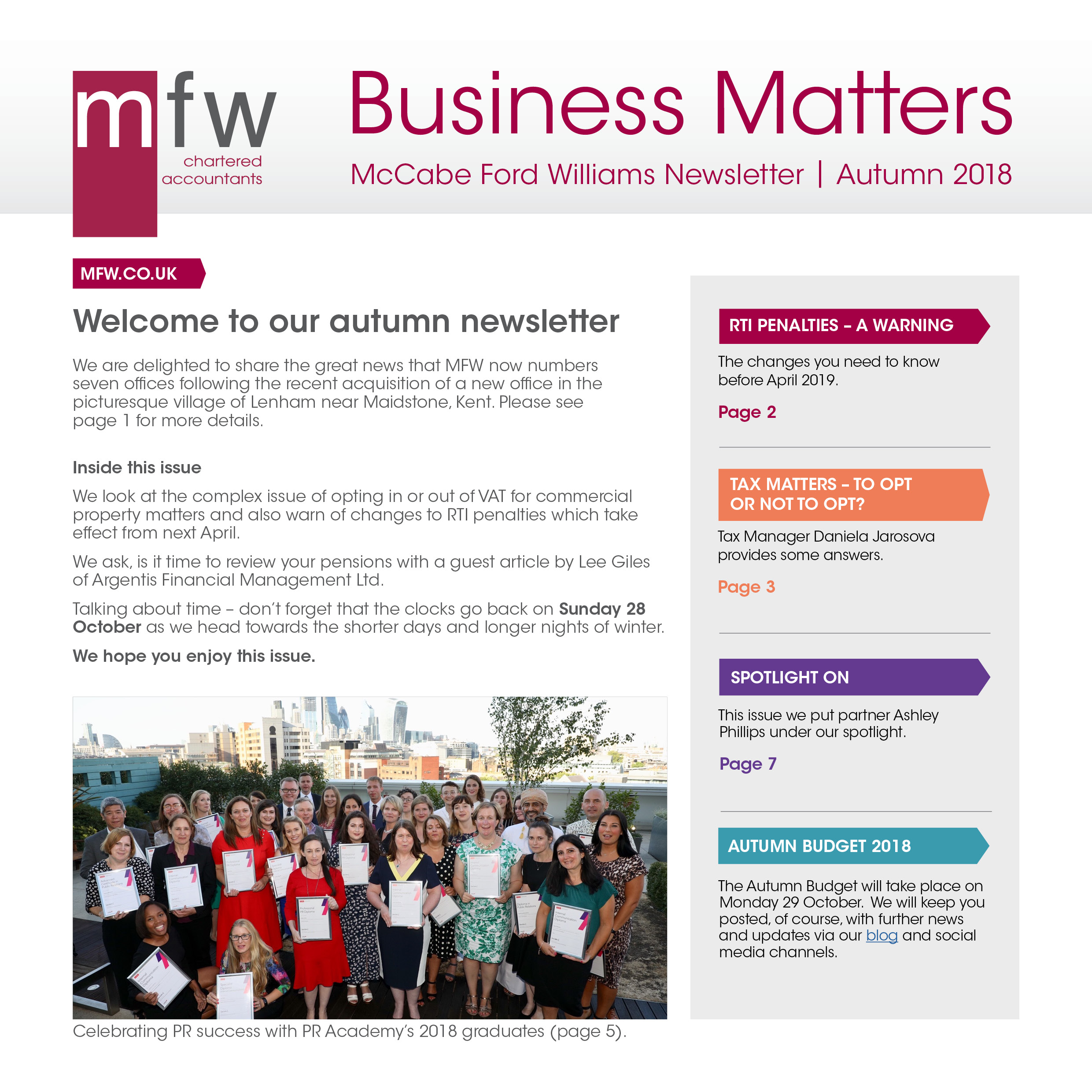 front cover Business Matters autumn 2018 newsletter