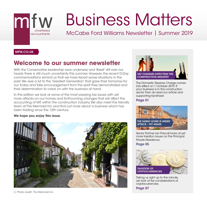MFW Business Matters newsletter summer 2019 edition